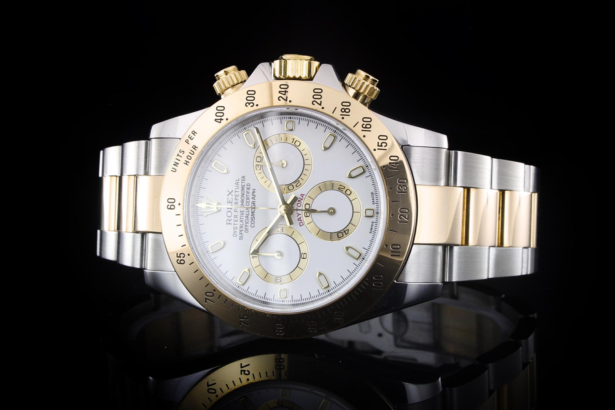 Armbanduhr rolex gold  Rolex Daytona (40mm) Ref.: 116523 in Stahl-Gold mit Box & Papieren ...